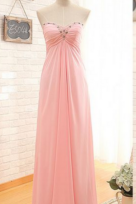 Charming Prom Dress,Pink Chiffon Prom Dresses,Sweetheart Prom Dress,Long Prom Dresses,