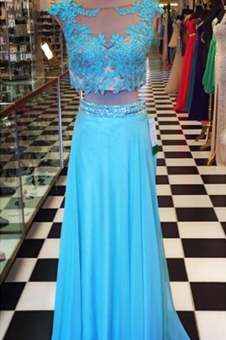 Prom Dress, Hot Sale A Line Turquoise Prom Dresses Two Pieces Lace Beaded Crystals Pleat Evening Party Dresses