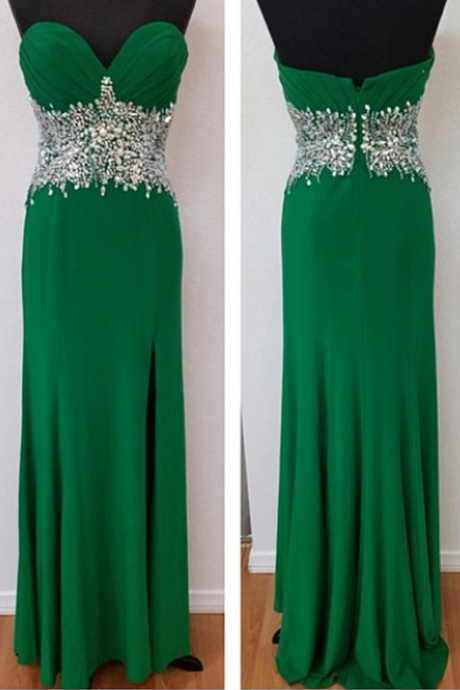 Charming Prom Dress, Green Sweetheart Beaded Zipper Back Long Prom Dresses,Wedding Guest Prom Gowns