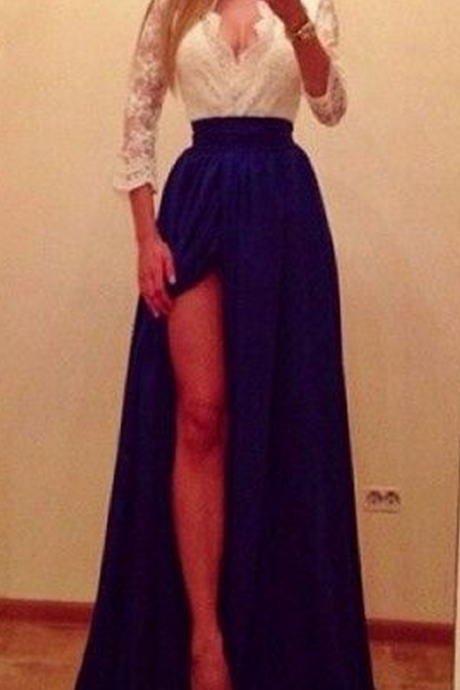 Prom Dress,Two Pieces Popular V-Neck Prom Dresses,Middle Sleeves Lace Party Dress,