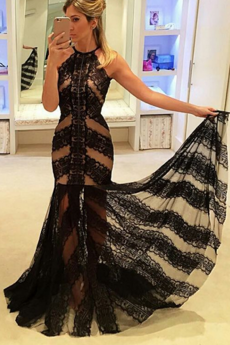 Prom Dresses,Evening Dress,Black Prom Dresses,Lace Prom Dress,Sexy Prom Dress,Sleeves Prom