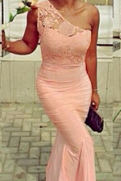 Custom Made Charming Pink Lace Prom Dress,One Shoulder Evening Dress