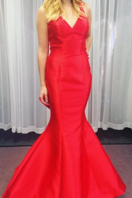 Custom Made Charming Red Mermaid Prom Dress,Spaghetti Straps Evening Dress,