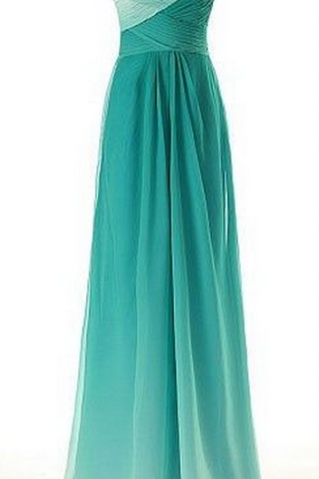 Simple Dress Elegant A-line Sweetheart Gradual Color Beading Long Chiffon Prom Dresses/Evening