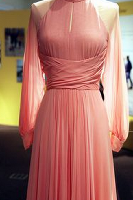 Custom Made Charming Pink Chiffon Prom Dress,Long Sleeves Evening Dress,See through Prom Dress