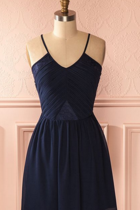 Charming Dark Blue Prom Dress,Chiffon Prom Dress,Spaghetti Straps Short Prom Dress