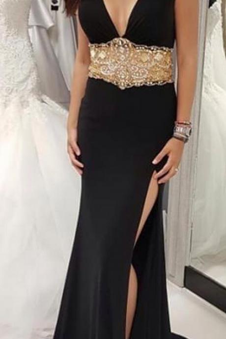 Deep V-Neck Chiffon Prom Dress with High Slit and Gold Beaded Waistline Prom Dresses