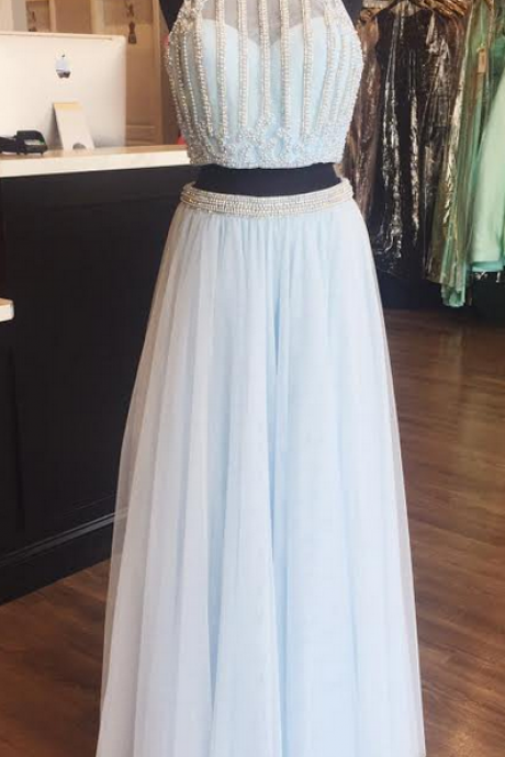 Two Piece Prom Dress,Halter Beaded Celebrity Prom Dresses, Wedding Party Dresses Formal Gowns