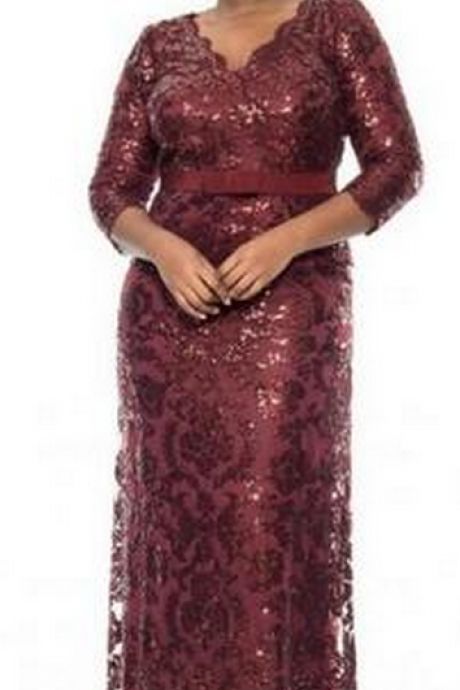 Burgundy Sequin Lace Prom Dress,Plus Size Special Occasion Dresses V-Neck Long Sleeve Evening