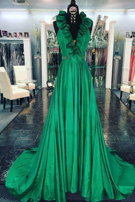 Ruffled Neck Sweep Train Prom Dresses Long,Green Evening Dresses,Evening