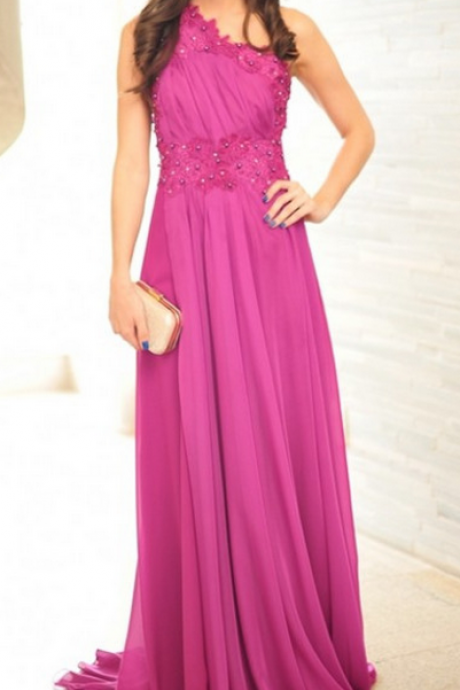 Sexy One-shoulder Prom Dress,Pearls Appliques Prom Dress,Chiffon Purple Prom Dresses, Long Party Evening Dress