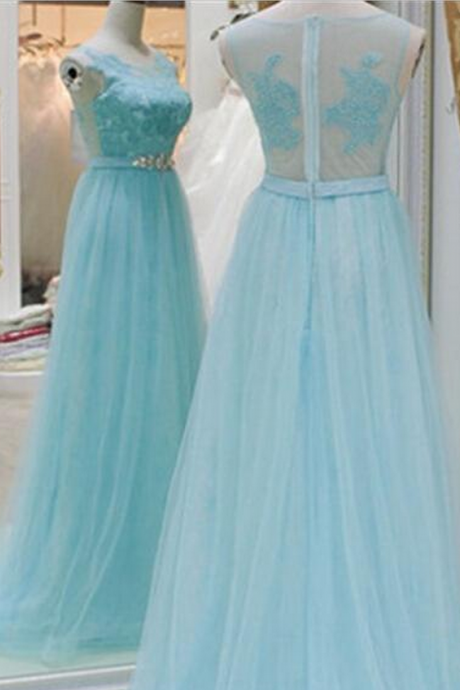 Prom Dress, New Arrival Baby Blue A Line Evening Dresses, Lace Top See Though Prom Dress,High Quality Graduation