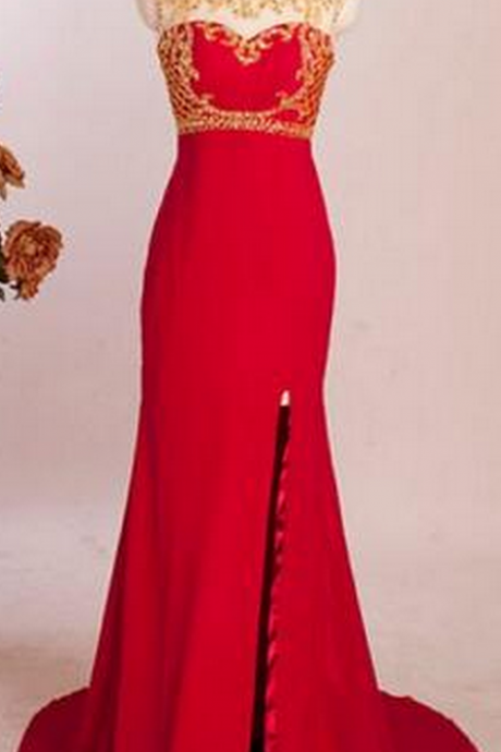 Mermaid Prom Dresses, Beading Prom Dresses, Side Split Prom Dresses, Evening Dresses,