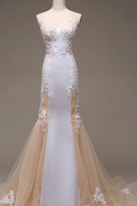 Mermaid Sweep Train Lace Tulle Prom Dresses,Sweetheart Long Prom Dress,Backless Evening Dresses,