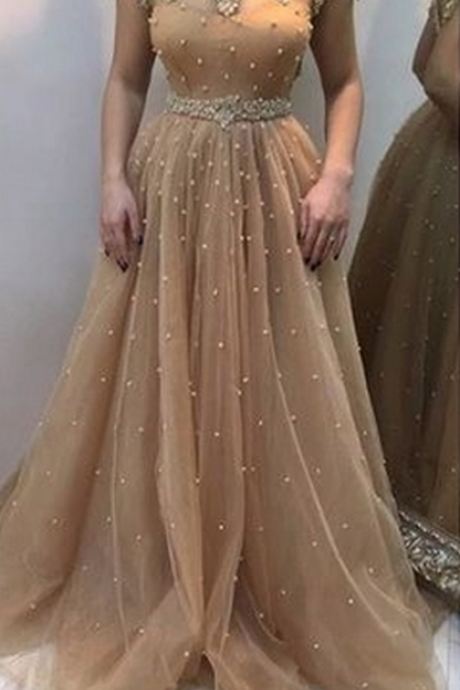 Champagne A-line beading long prom dress,evening dress prom dresses party dresses bridal dresses