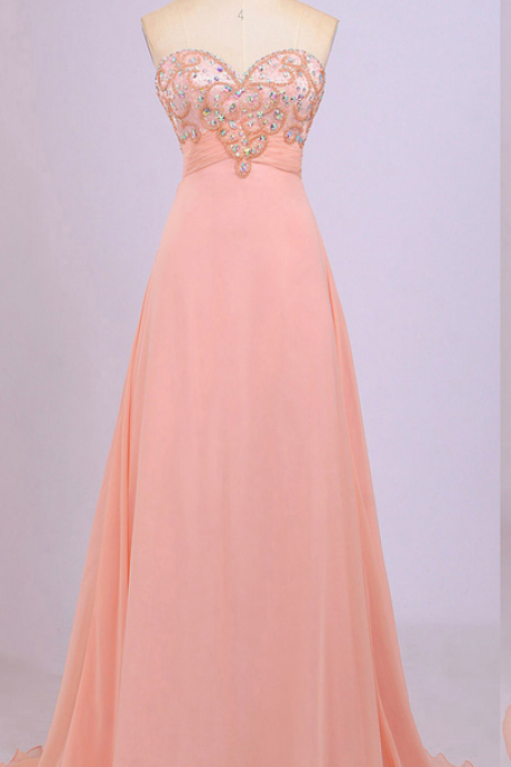 Strapless Sweetheart Beaded A-line Chiffon Long Prom Dress, Evening Dress