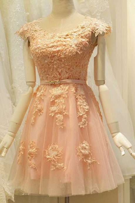 Homecoming dresses,Cute A-Line Jewel Cap Sleeves Short Coral Tulle Homecoming Dress