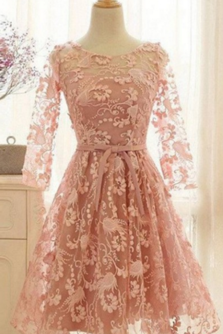 homecoming dresses,Romantic A-Line Scoop Long Sleeves Knee Length Blush Pink Lace Homecoming Dress