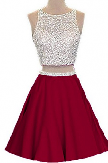 Two Piece Prom Dress Homecoming Dress, Junior Party Dress, Short Homecoming Dress,Heavy Beading Homecoming Dress