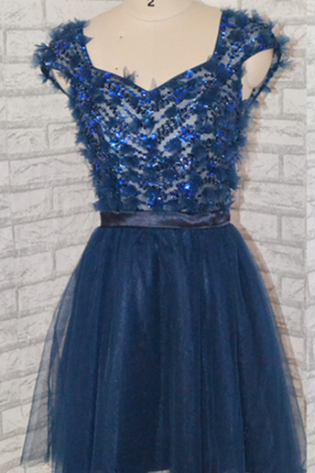 Sweetheart Short Navy Blue Prom Dress Lovely prom dress,short prom dress,Navy blue prom dress