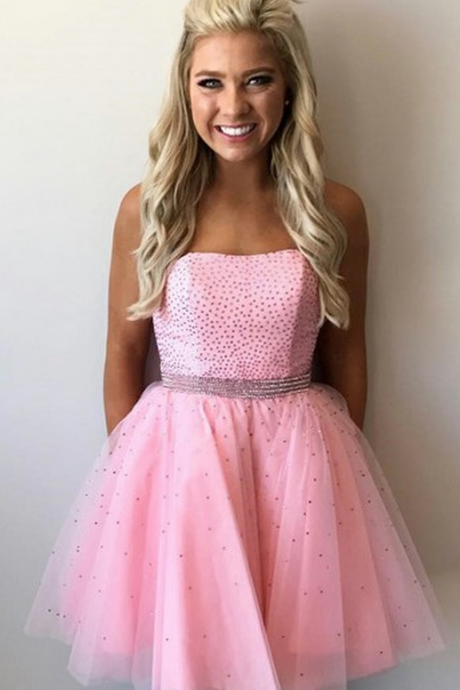 New Arrival Short Pink Tulle Homecoming Dress with Beading