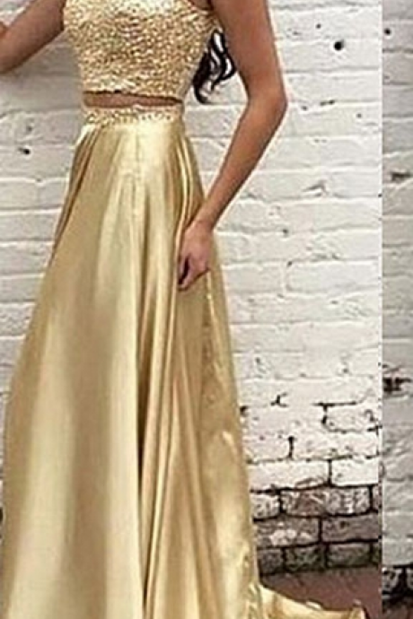 Modern High Neck Beading Two-pieces 2 piece satin beading luxury Gold Long Prom Dress Evening Formal dresses