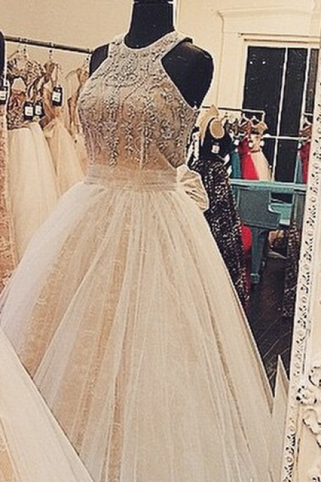 Latest Halter Long Prom/Homecoming Dresses with Beading Ball Gown evening formal dresses
