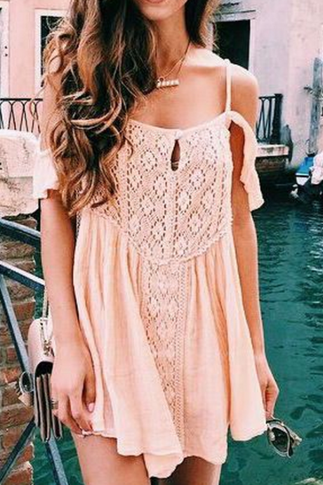 Blush pink Homecoming Dress, Sexy Mini Spaghetti straps Casual Dress, Cute Off Shouleder Club Dresses