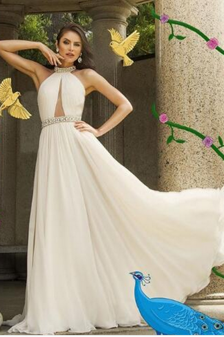Sexy Prom Dress Evening Dress A-line Ivory High Neck Chiffon Long Prom Dresses Evening Dresses Formal Dress