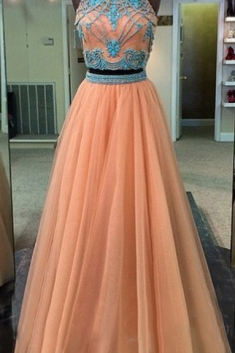 Two Pieces Evening Dress,Tulle Prom Dress,High Neck prom dress,Charming prom dress,Long prom dress