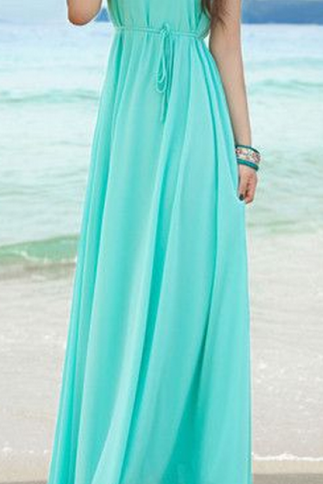 Simple Style Blue Chiffon Prom Dress Long Prom Dresses Party Dress