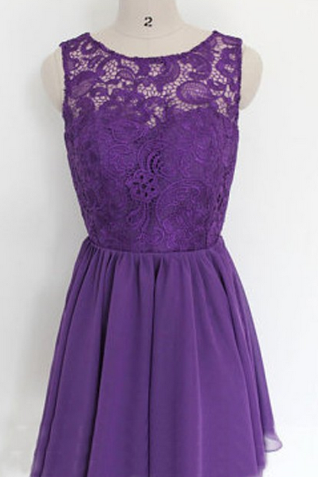 Purple Homecoming Dresses Zipper-Up Sleeveless Lace Mini Round Neck A lines