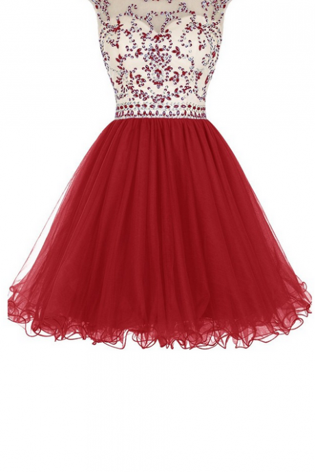 Dark Red Homecoming Dresses Zipper-Up Cap Sleeve Tulle Beadings Mini Jewels A-Line/Column