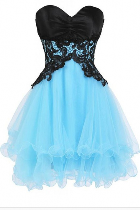 Black Homecoming Dresses Lace-Up Sleeveless Tulle Appliqued Short Sweetheart Neckline A-Line/Column