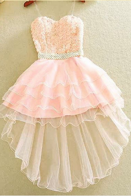 Pink Homecoming Dresses Zipper-Up Sleeveless Tulle Lace Asymmetry Sweetheart Neckline A lines