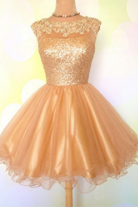 Golden Homecoming Dresses Appliques Sleeveless Paillette Short O-neck A lines
