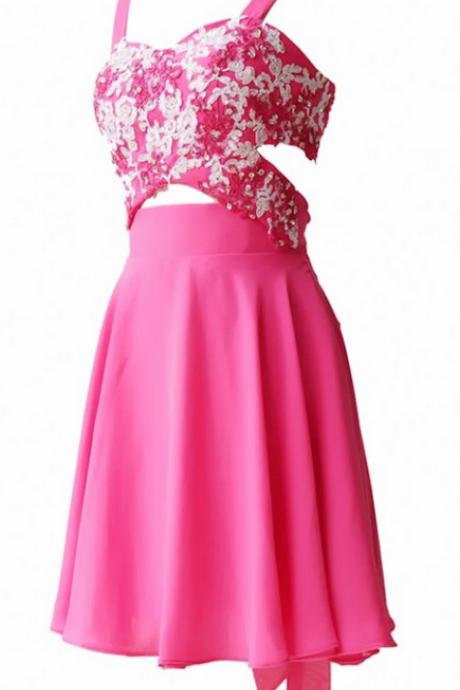 Pink Homecoming Dresses Open Back Spaghetti Strap Embroidered Mini Strap A lines