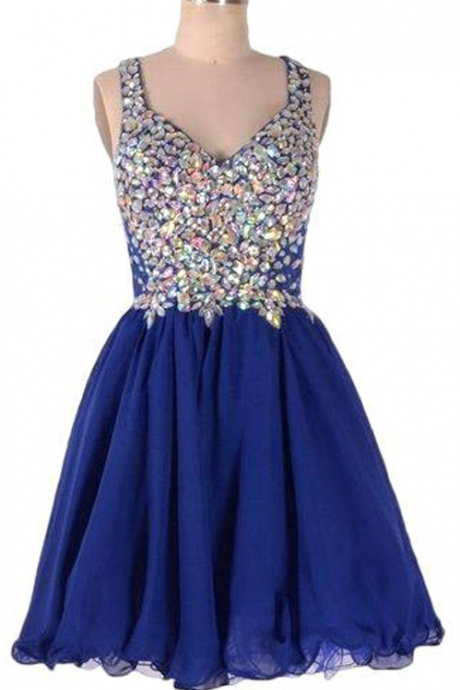 Royal Blue Homecoming Dresses Zippers Sleeveless Tulle Rhinestone Above-Knee V-Neck Scoop A lines