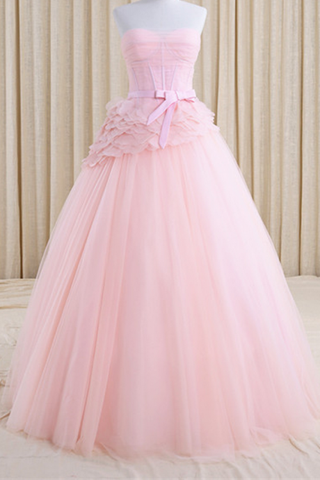 Strapless Pink Tulle Homecoming Dresses A Line Sashes Floor Length Sweetheart Neckline Zippers A Line