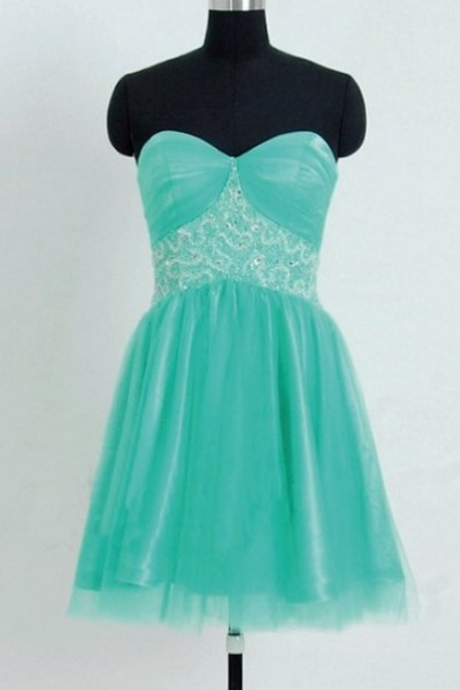 Sleeveless Green Homecoming Dresses A Line Bandage Short Sweetheart Neckline Lace-Up A Line