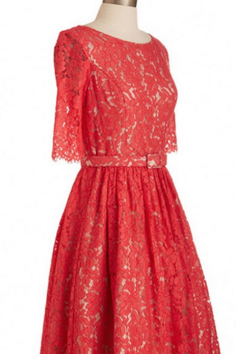 Half-Sleeves Red Homecoming Dresses A-Line/Column Lace Above Knee Round Neck Open Back A-Line/Column