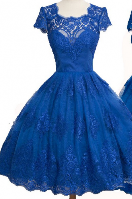 Sleeveless Blue Tulle Homecoming Dresses Ball-Gown Appliques Knee-length Square Neckline Zippers Ball-Gown