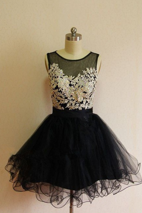 Sleeveless Black Homecoming Dresses A Line Lace Above Knee Sheer Neckline Zipper-Up A Line