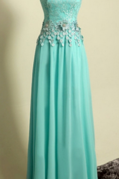 Applique Chiffon Floor-Length Round A-line Short Sleeves Homecoming Dress Custom Made Dresses