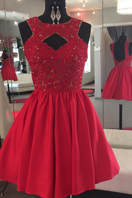 Charming Prom Dress, Sleeveless Lace Prom Dress , Elegant Homecoming Dress, Short Tulle Homecoming Dresses