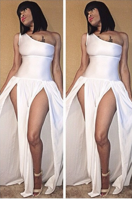 White One Shoulder Dress with Splits