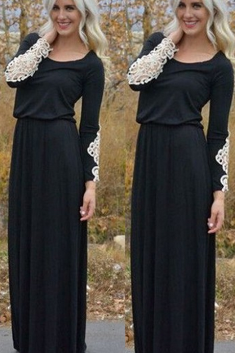 Long Sleeve Prom Dress,Black Prom Dress,Maxi Prom Dress,Fashion Prom Dress,Sexy Party Dress, New Style Evening Dress