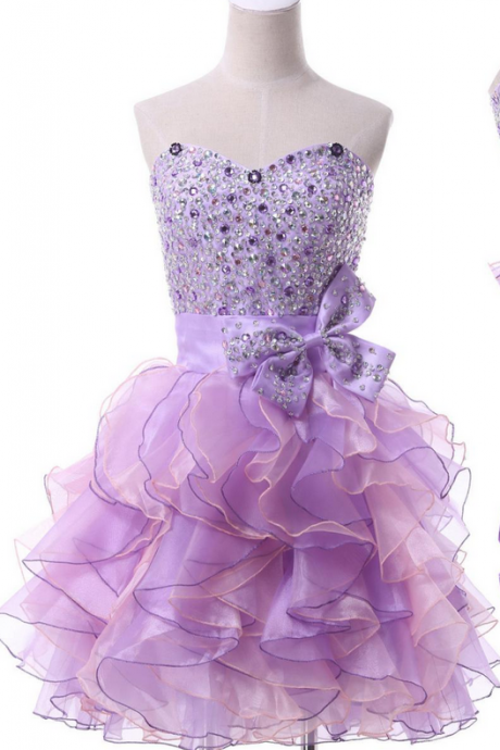 Sweetheart Homecoming Dress Ruffle Short Mini Sexy Crystal Evening Dress Prom Dress Custom Made Bridal Party Dress