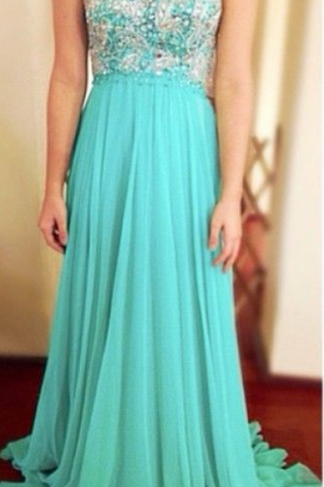 Free Shipping Keyhole Back Prom Dress,Handmade Beaded Tiffany Blue Graduation Dress,Sexy Illusion Evening Dress,Open Back Party Dress