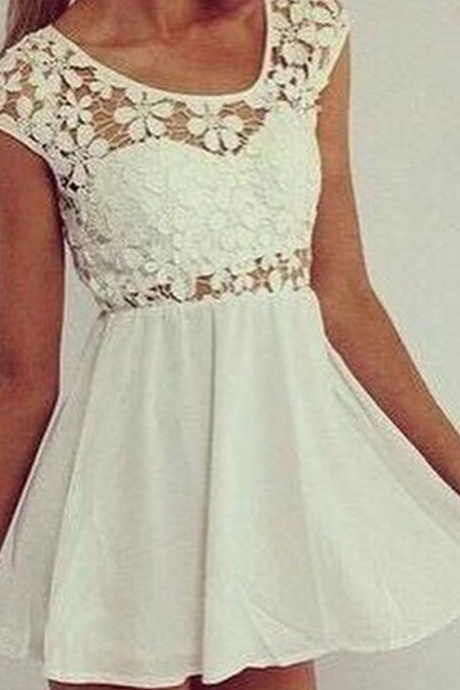 White Causal Homecoming Dress,Lace Prom Dresses,Chiffon Homecoming Gowns,Simple Sweet 16 Dress,Homecoming Dresses,